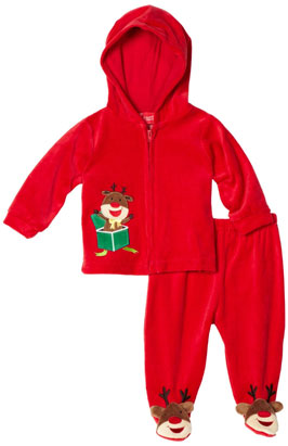 Carters Unisex-Baby Newborn Rudolph Raindeer Velour Jacket And Pant Set
