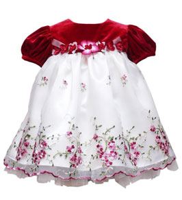 rare edition baby girls infant velvet embroidered dress