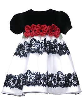 rare edition baby girl infant velvet flocked dress