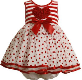 Bonnie Baby Flocked Hearts Organza Skirt With Stripe Knit Bodice