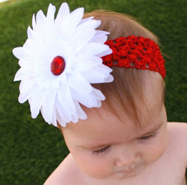 Red Crochet Headband with White Daisy Flower Clip and Red Rhinestone